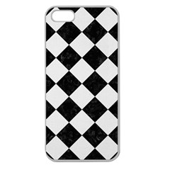 Square2 Black Marble & White Linen Apple Seamless Iphone 5 Case (clear)