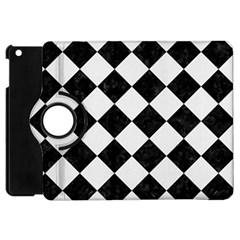 Square2 Black Marble & White Linen Apple Ipad Mini Flip 360 Case