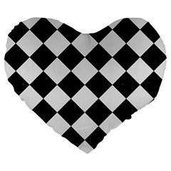 Square2 Black Marble & White Linen Large 19  Premium Heart Shape Cushions