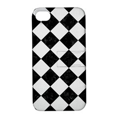 Square2 Black Marble & White Linen Apple Iphone 4/4s Hardshell Case With Stand