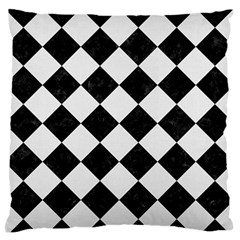 Square2 Black Marble & White Linen Standard Flano Cushion Case (two Sides)