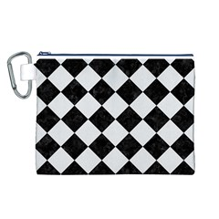 Square2 Black Marble & White Linen Canvas Cosmetic Bag (l)