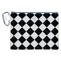 Square2 Black Marble & White Linen Canvas Cosmetic Bag (xxl)