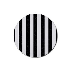 Stripes1 Black Marble & White Linen Rubber Coaster (round)