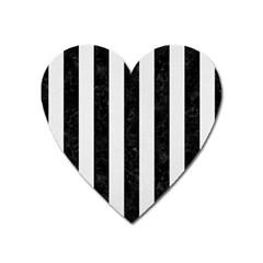 Stripes1 Black Marble & White Linen Heart Magnet