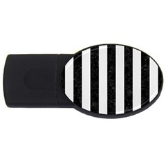 Stripes1 Black Marble & White Linen Usb Flash Drive Oval (4 Gb)