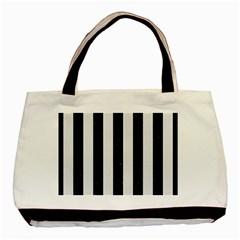 Stripes1 Black Marble & White Linen Basic Tote Bag