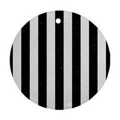 Stripes1 Black Marble & White Linen Round Ornament (two Sides)
