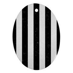Stripes1 Black Marble & White Linen Oval Ornament (two Sides)