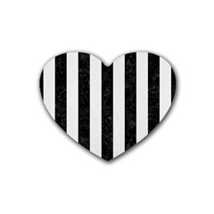 Stripes1 Black Marble & White Linen Heart Coaster (4 Pack)