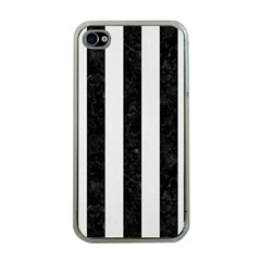 Stripes1 Black Marble & White Linen Apple Iphone 4 Case (clear)