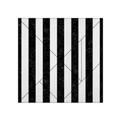 Stripes1 Black Marble & White Linen Acrylic Tangram Puzzle (4  X 4 )