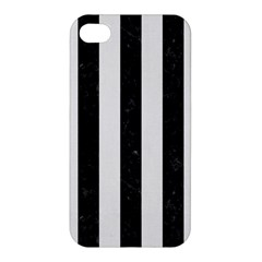 Stripes1 Black Marble & White Linen Apple Iphone 4/4s Premium Hardshell Case