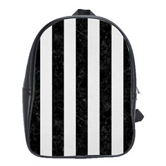 Stripes1 Black Marble & White Linen School Bag (xl)