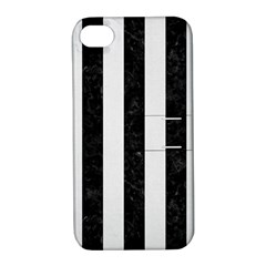 Stripes1 Black Marble & White Linen Apple Iphone 4/4s Hardshell Case With Stand