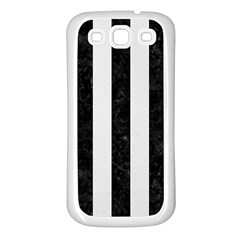 Stripes1 Black Marble & White Linen Samsung Galaxy S3 Back Case (white)