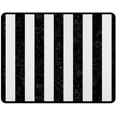 Stripes1 Black Marble & White Linen Double Sided Fleece Blanket (medium)