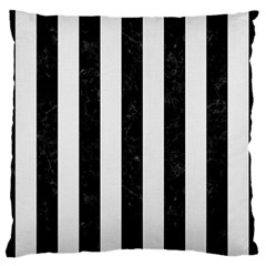 Stripes1 Black Marble & White Linen Large Flano Cushion Case (two Sides)