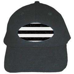 Stripes2 Black Marble & White Linen Black Cap
