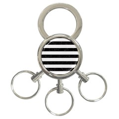 Stripes2 Black Marble & White Linen 3 Ring Key Chains