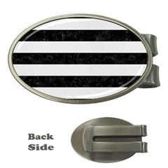 Stripes2 Black Marble & White Linen Money Clips (oval)