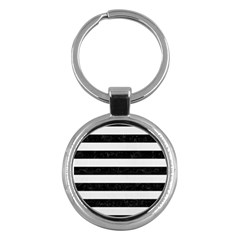 Stripes2 Black Marble & White Linen Key Chains (round)