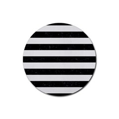 Stripes2 Black Marble & White Linen Rubber Coaster (round)