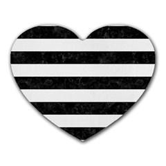 Stripes2 Black Marble & White Linen Heart Mousepads