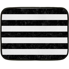 Stripes2 Black Marble & White Linen Double Sided Fleece Blanket (mini)