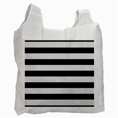 Stripes2 Black Marble & White Linen Recycle Bag (two Side)