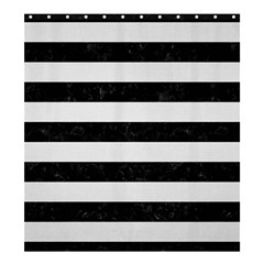 Stripes2 Black Marble & White Linen Shower Curtain 66  X 72  (large)