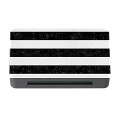 Stripes2 Black Marble & White Linen Memory Card Reader With Cf