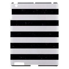 Stripes2 Black Marble & White Linen Apple Ipad 3/4 Hardshell Case