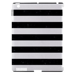 Stripes2 Black Marble & White Linen Apple Ipad 3/4 Hardshell Case (compatible With Smart Cover)