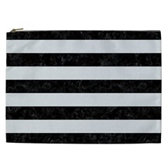 Stripes2 Black Marble & White Linen Cosmetic Bag (xxl)