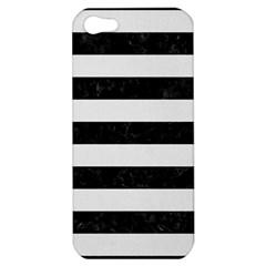 Stripes2 Black Marble & White Linen Apple Iphone 5 Hardshell Case