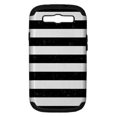 Stripes2 Black Marble & White Linen Samsung Galaxy S Iii Hardshell Case (pc+silicone)