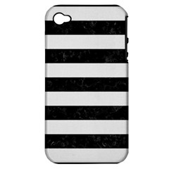 Stripes2 Black Marble & White Linen Apple Iphone 4/4s Hardshell Case (pc+silicone)