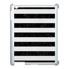 Stripes2 Black Marble & White Linen Apple Ipad 3/4 Case (white)