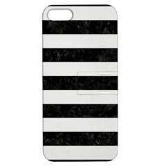 Stripes2 Black Marble & White Linen Apple Iphone 5 Hardshell Case With Stand
