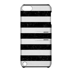 Stripes2 Black Marble & White Linen Apple Ipod Touch 5 Hardshell Case With Stand