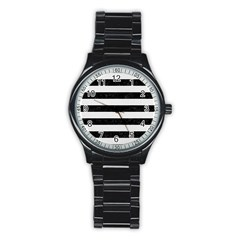 Stripes2 Black Marble & White Linen Stainless Steel Round Watch