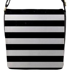 Stripes2 Black Marble & White Linen Flap Messenger Bag (s)