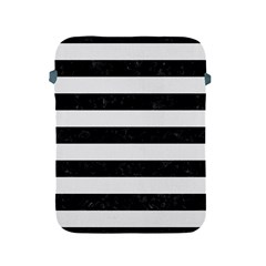Stripes2 Black Marble & White Linen Apple Ipad 2/3/4 Protective Soft Cases