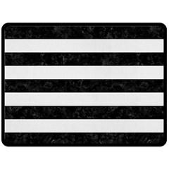 Stripes2 Black Marble & White Linen Double Sided Fleece Blanket (large)