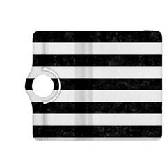 Stripes2 Black Marble & White Linen Kindle Fire Hdx 8 9  Flip 360 Case