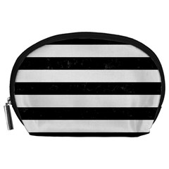 Stripes2 Black Marble & White Linen Accessory Pouches (large)