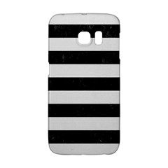 Stripes2 Black Marble & White Linen Galaxy S6 Edge