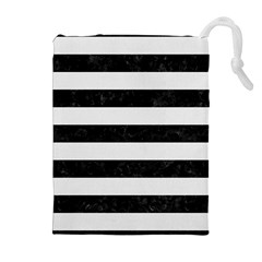 Stripes2 Black Marble & White Linen Drawstring Pouches (extra Large)