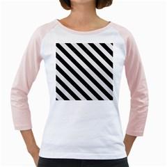 Stripes3 Black Marble & White Linen Girly Raglans